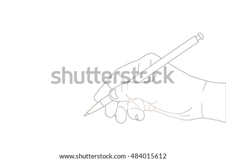 Hand with pencil writing something with line
