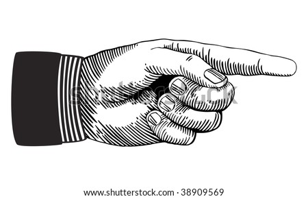 Hand with pointing finger in black and white - stock vector