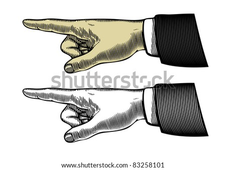 Hand with pointing finger (Vector illustration) - stock vector