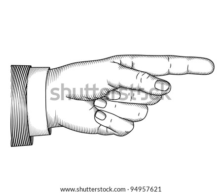 Hand with pointing finger. Woodcut illustration - stock vector