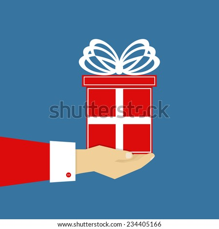 Hand with red gift, flat design, vector eps10 illustration - stock vector