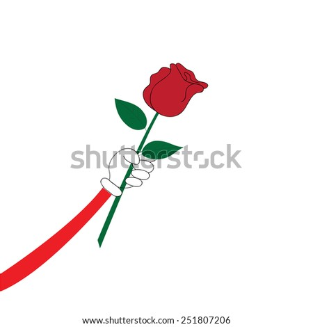 Hand with red rose on white background