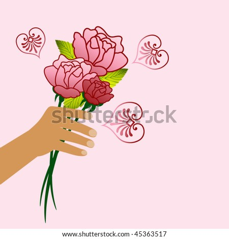 hand with roses - organic heart elements - stock vector