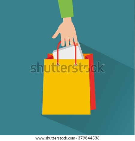 Hand with shopping bag. Flat design.Vector Illustration. - stock vector