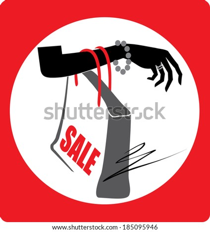 Hand with shopping bag icon  - stock vector