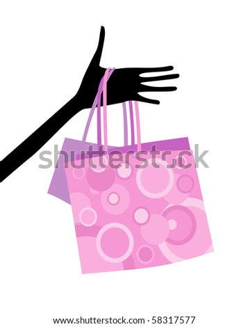 Hand with shopping bags - stock vector