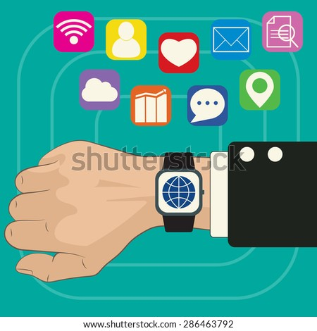 Hand with smart watch, icons on display and on background. Vector illustration, color