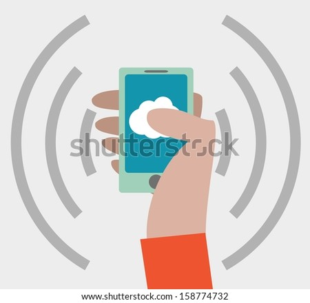 Hand with smartphone icon - stock vector