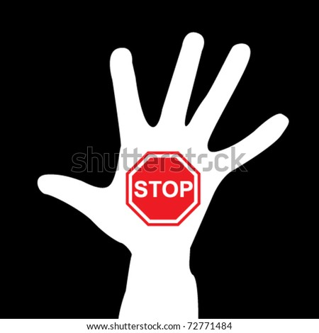 hand with stop sign - stock vector