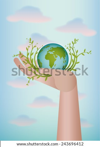 Hand with the earth planet inside