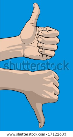 Hand with thumb up and down - stock vector