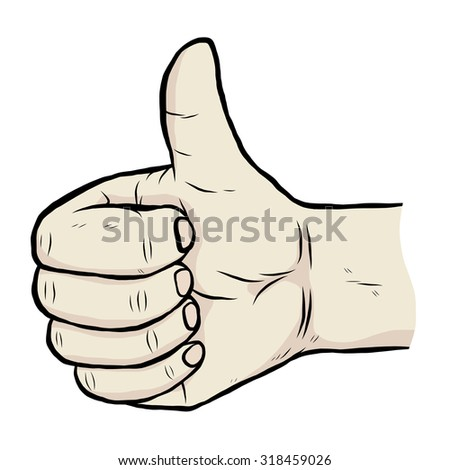 hand with thump up / cartoon vector and illustration, hand drawn style, isolated on white background.