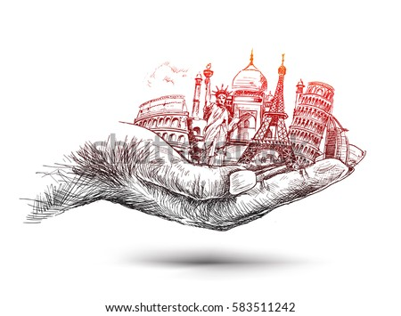 Hand with Travel the world hand monuments concept, Hand Drawn Sketch Vector illustration.