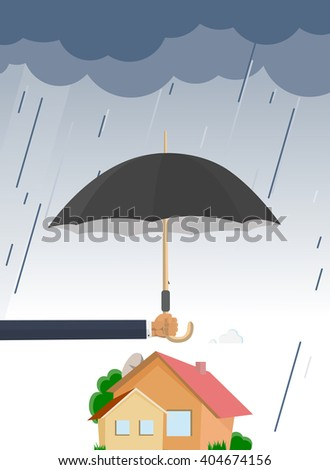 hand with umbrella protects house from the rain and bad weather in flat design
