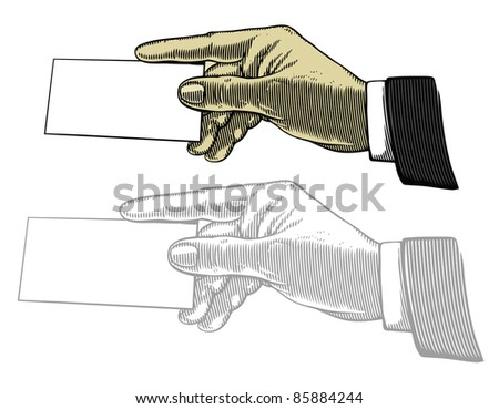 Hand with white blank card - stock vector