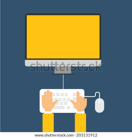 hand working with computer.flat design - stock vector