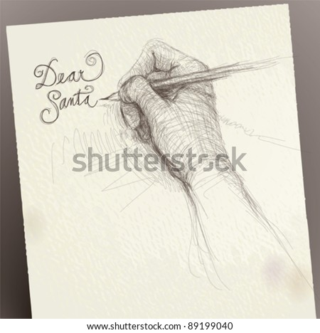 "Hand writes ""Dear Santa"" / realistic sketch (not auto-traced)"