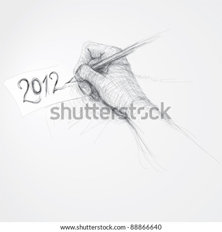 """Hand writes """"2012"""" / realistic sketch (not auto-traced) - stock vector"""