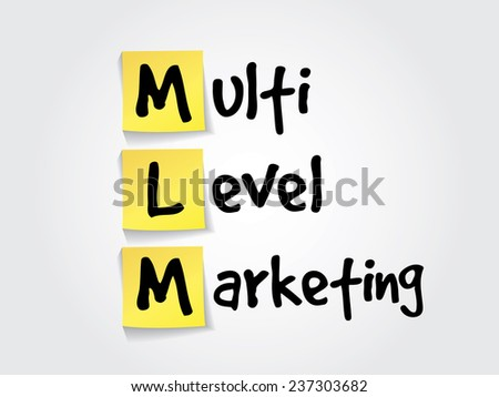 Hand writing acronym multi level marketing (MLM) on yellow sticky notes, business vector concept - stock vector