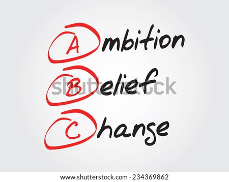 Hand writing Ambition Belief Change (ABC), vector concept background - stock vector