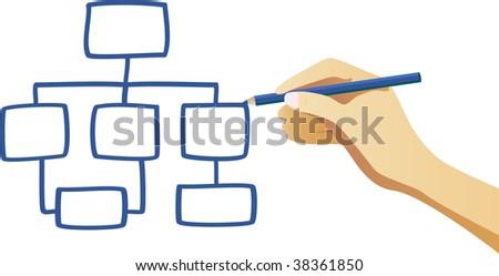 Hand writing an organization chart. Vector Image - stock vector