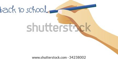 Hand writing back to school note on wall - stock vector