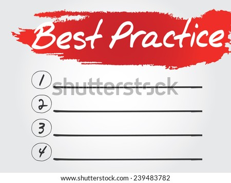 Hand writing Best Practice Blank List, vector concept background - stock vector