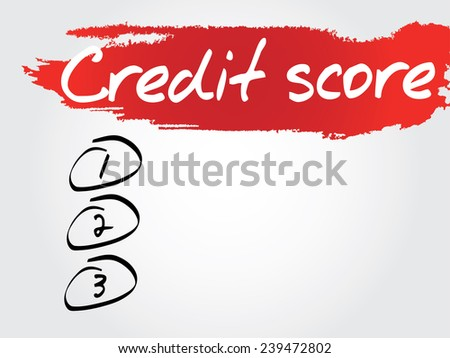 Hand writing Credit Score Blank List, vector concept background - stock vector
