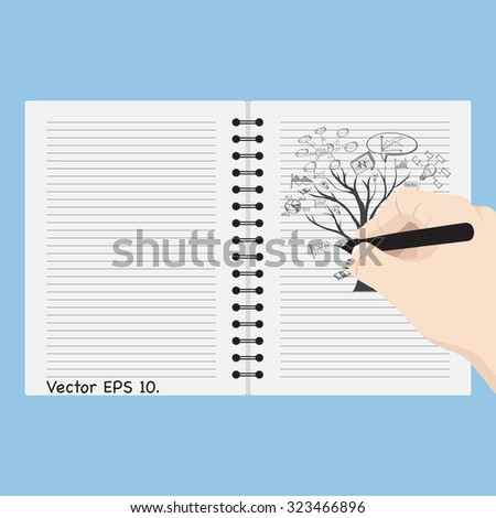 Hand writing Dead tree without leave with Vector Web icons, Business icons and Technology icons, Vector Illustration EPS 10. - stock vector