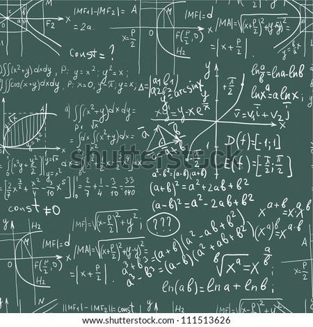 Hand writing mathematics formula on seamless blackboard - stock vector