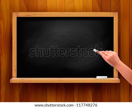 Hand writing on a blackboard. Vector illustration. - stock vector