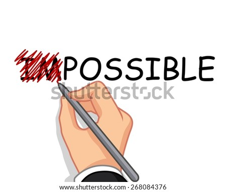 hand writing possible from impossible - stock vector