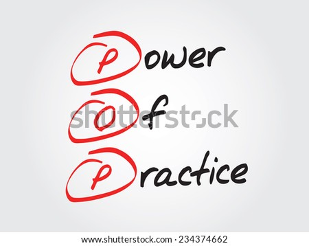 Hand writing Power Of Practice (POP), vector concept background - stock vector