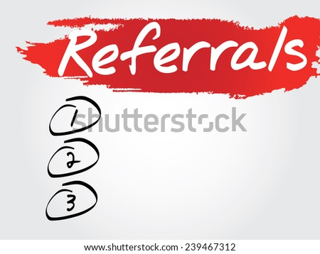 Hand writing Referrals Blank List, vector concept background - stock vector