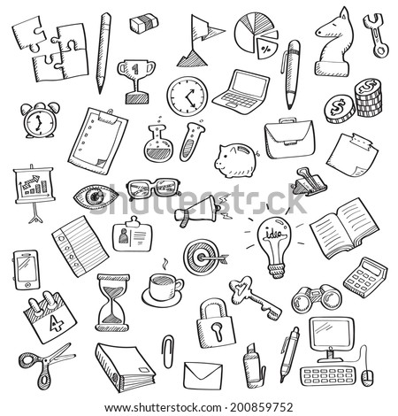 Hand writing sketch of business symbol and office supplies, set 2. - stock vector