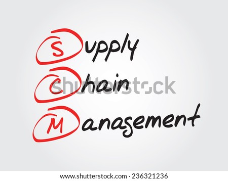 Hand writing Supply Chain Management (SCM), vector business concept acronym