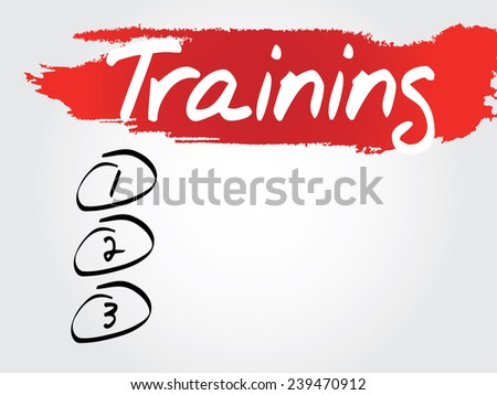 Hand writing Training Blank List, vector concept background - stock vector