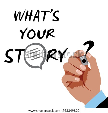 Hand writing - whats-your-story with black marker on a white board - stock vector