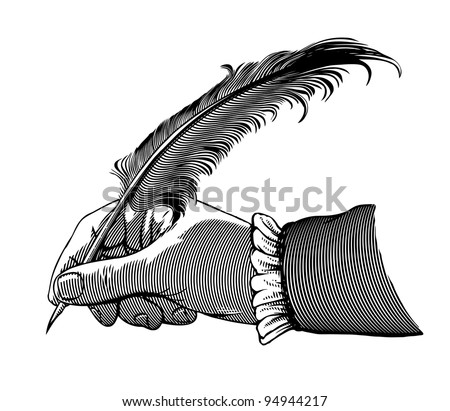 Hand writing with a feather - stock vector