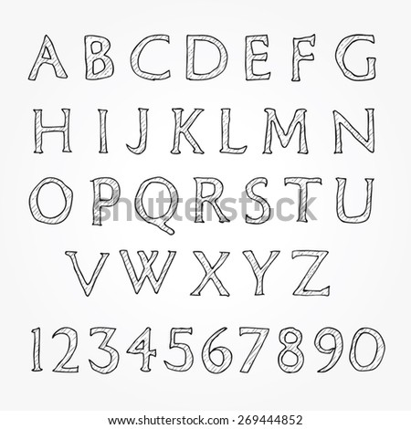 Hand written alphabet - Letters and numbers