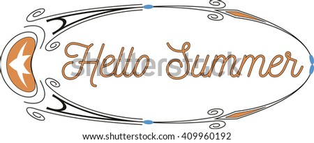 hand written calligraphic lettering Hello Summer oval ornament vector, easy to edit - stock vector