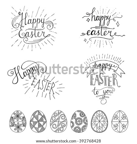 Hand Written Easter Phrases Greeting Card Stock Vector 392768428 ...