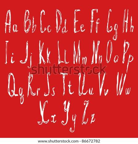 hand written font - stock vector