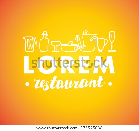 Hand written font lettering. Cute hand drawn logo template. Good for cafe, catering, restaurant insignia, print, menu cover, any advertising, leaflet, flyer, card design. - stock vector