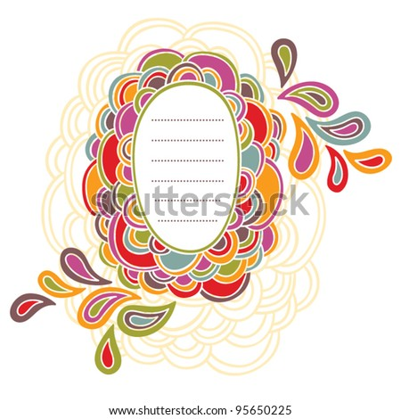 Hand written frame with colorful doodling elements - stock vector