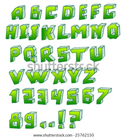 Hand written green alphabet. Vector.