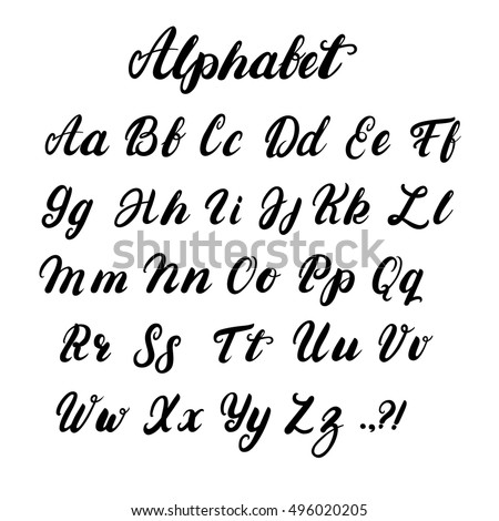 Hand Written Lowercase And Uppercase Calligraphy Alphabet Modern Brushed Lettering Black Letters Isolated On