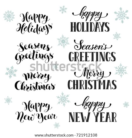 Hand written new year phrases greeting stock vector 721912108 hand written new year phrases greeting card text with snowflakes isolated on white background m4hsunfo