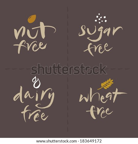 Hand written unhealthy or allergenic food vector label set. Nut free, Sugar free, Dairy free, Wheat free. Eps and hi-res jpg included. - stock vector