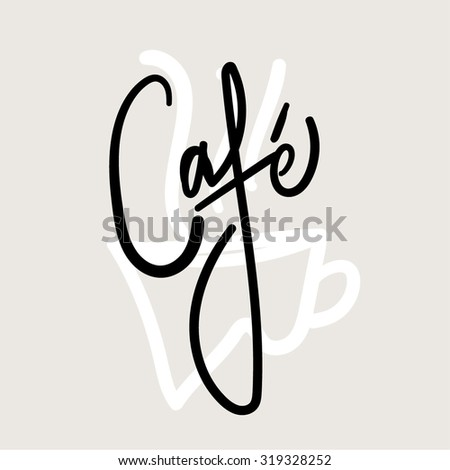 Hand Written Vector Text. Calligraphy. Black Brush on Grey Background. - stock vector